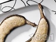 Рецепта Печени бананови лодки пълнени с яйчен крем на фурна